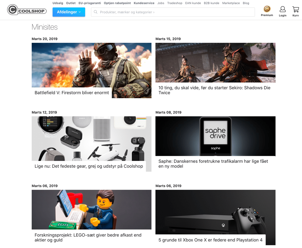 Coolshop hjemmeside