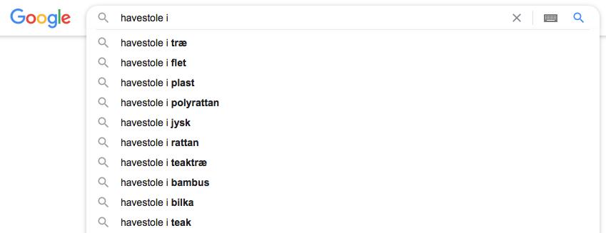 Søgeforslag på Google